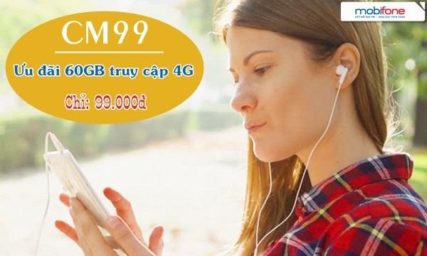 Tặng 60Gb data khi đăng ký gói cước CM99 Mobifone