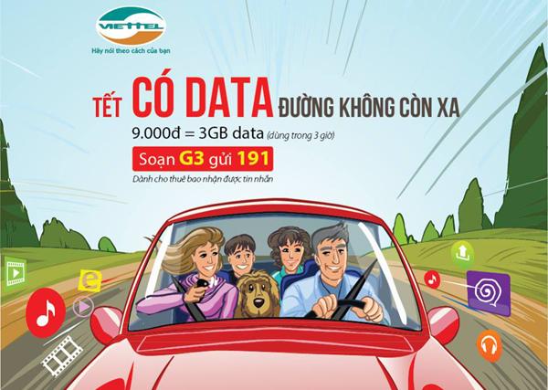 Nhận 3GB data 4G khi đăng ký gói cước G3 Viettel chỉ 9k