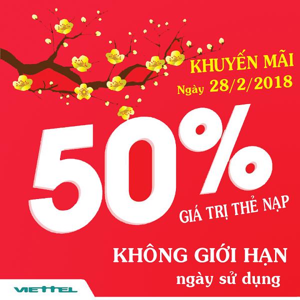 Chi tiết chương trình Viettel khuyến mãi 50% thẻ nạp ngày 28/2/2018