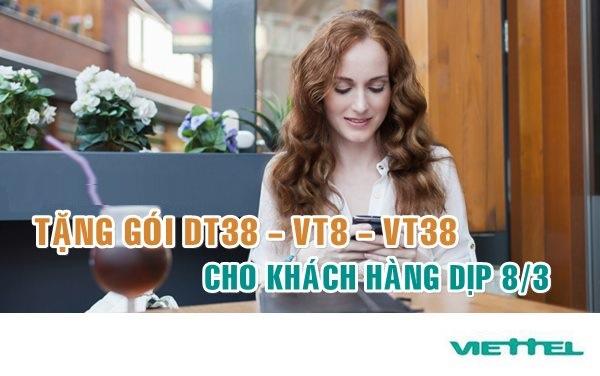 Đăng kí gói VT8, VT38 Viettel nhận ngay 83 phút gọi thoại miễn phí