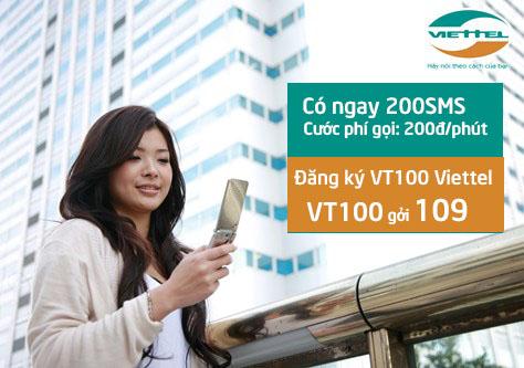 Đăng kí nhanh gói VT100 viettel nhận ngay tới 550 SMS chỉ với 2.500 đồng