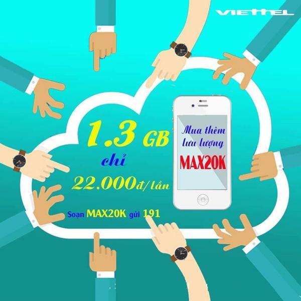 Chi tiết cách mua thêm 3G từ gói Max20k Viettel