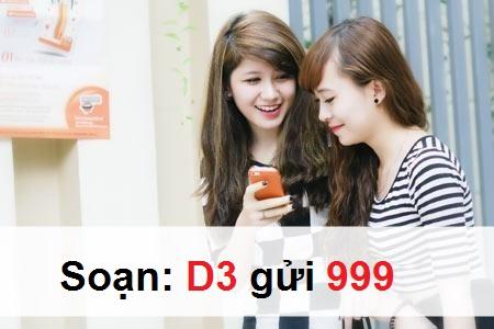 Đăng kí truy cập mạng với gói cước D3 Mobifone chỉ 3.000đ