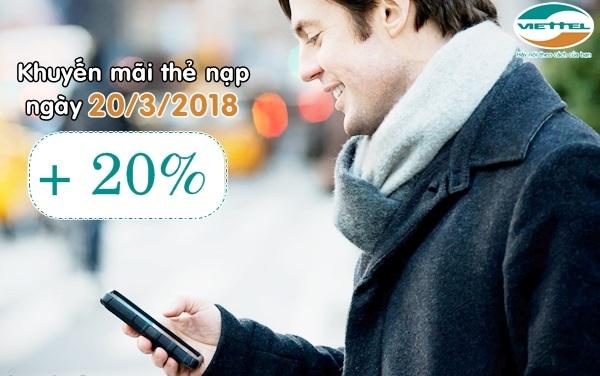 Viettel khuyến mãi 20% giá trị thẻ nạp ngày vàng 20/3/2018