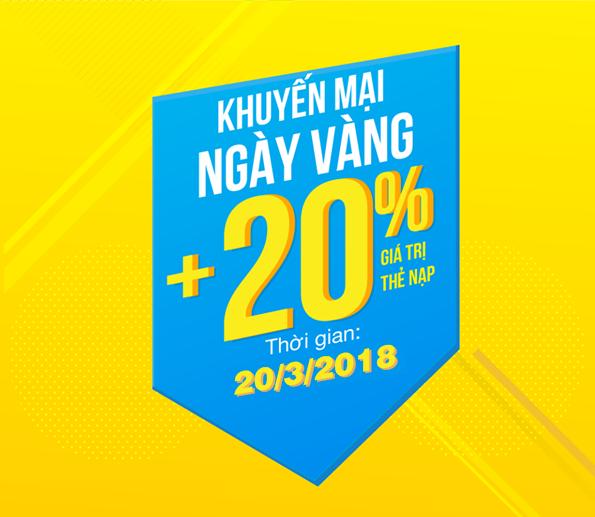 Vinaphone khuyến mãi 20% giá trị thẻ nạp ngày 20/3/2018