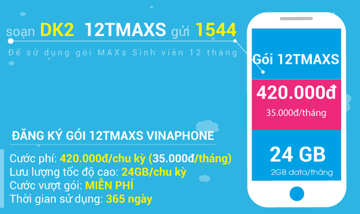Hướng dẫn cách đăng ký gói cước 3G chu kỳ dài 12TMAXS Vinaphone