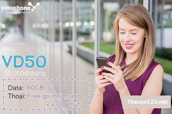Cách nhận ưu đãi 60GB data và gọi miễn phí từ gói VD50 Vinaphone