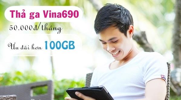 Tặng 100GB data từ gói Thả ga Vina690 mạng Vinaphone