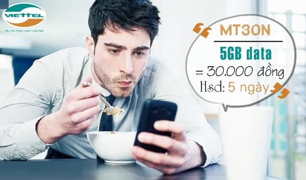 Làm sao để nhận ưu đãi 5Gb data từ gói cước MT30N Viettel?