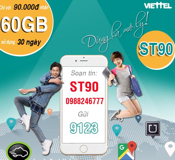 Cách nhận ưu đãi 60GB data mỗi tháng từ gói ST90 Viettel