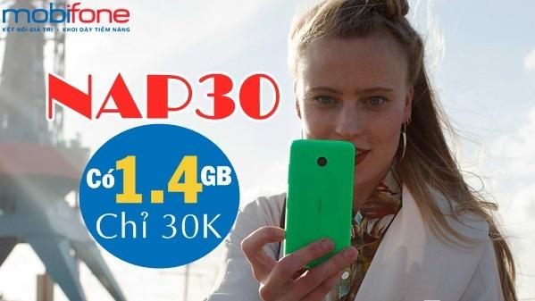 Cú pháp mua thêm 1,4GB data chỉ 30.000đ từ gói NAP30 Mobifone