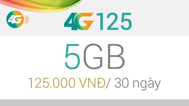 Đăng kí gói 4G125 của Viettel nhận ngay 5GB data