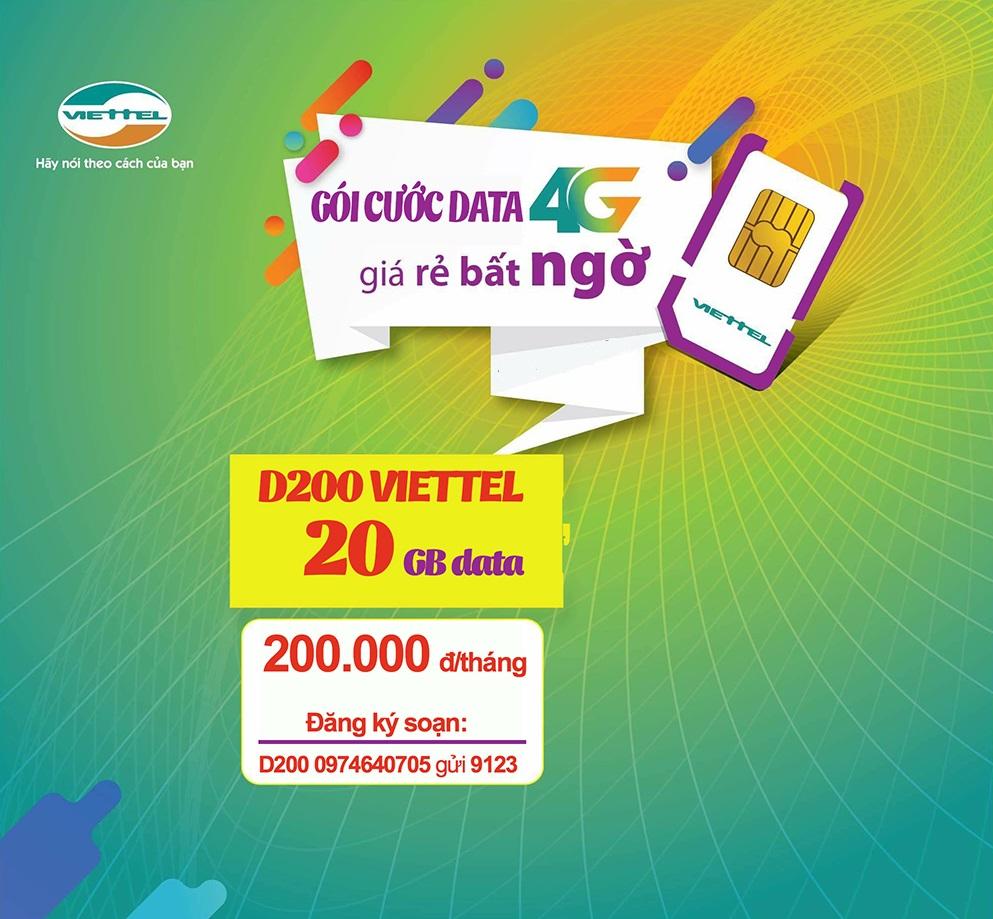 Bật mí cách nhận ưu đãi 20GB data từ gói D200 Viettel