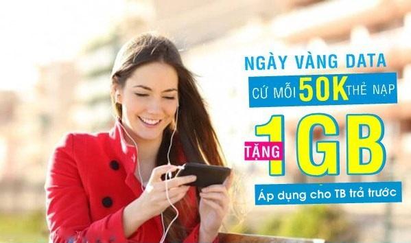 Vinaphone khuyến mãi nạp thẻ tặng data ngày 25/5/2018