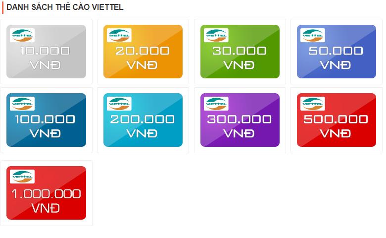 Những mệnh giá thẻ cào viettel  bạn có thể mua hiện nay