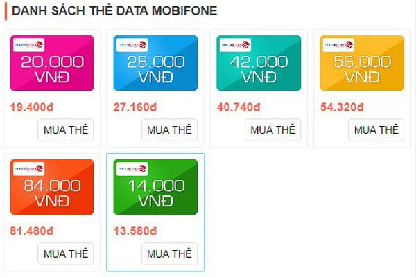 Các mệnh giá thẻ cào data 3G Mobifone