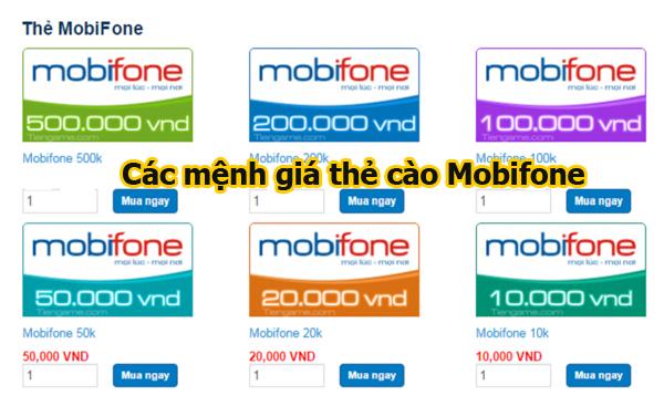 Các loại mệnh giá thẻ cào Mobi trên thị trường