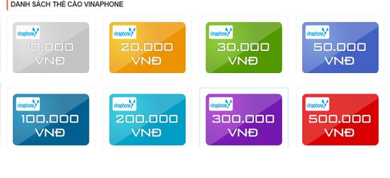 Các mệnh giá thẻ điện thoại hiện nay