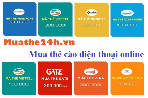 Các bước mua thẻ cào điện thoại online tại Muathe24h.vn
