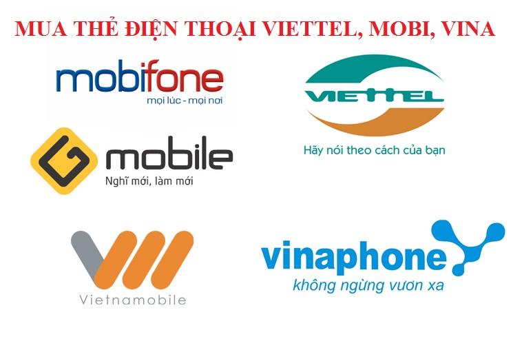 Mua thẻ điện thoại Viettel, Mobi, Vina tại Muathe24h.vn