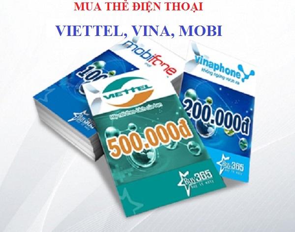 Mua thẻ điện thoại Viettel, Vina, Mobi chiết khấu cao