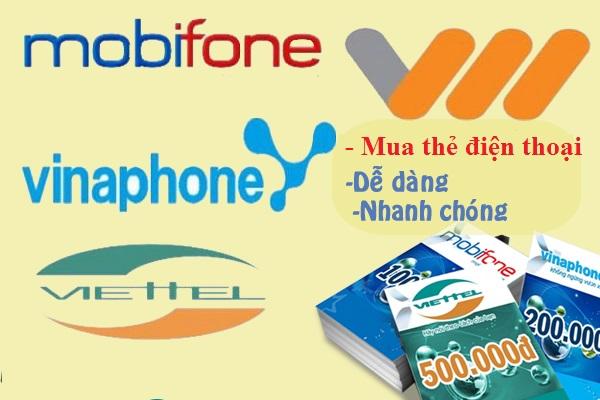 Mua thẻ điện thoại Viettel, Vina, Mobi online