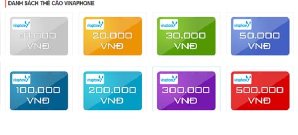 Những mệnh giá thẻ cào vinaphone mới nhất hiện nay