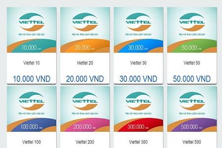 Những mệnh giá thẻ viettel được dùng nhiều nhất hiện nay.