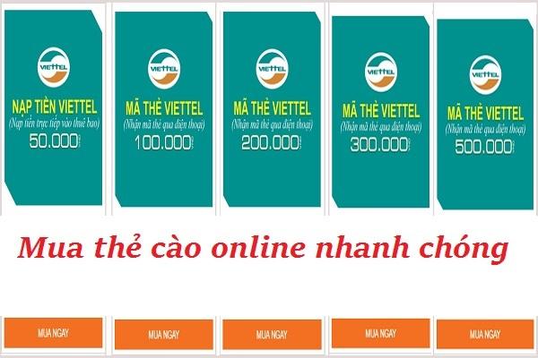 Cách nạp tiền Viettel online đơn giản 10k, 20k, 50k, 100k, 200k, 500k
