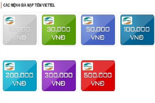 Thẻ điện thoại Viettel có những mệnh giá nào?